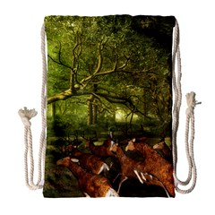 Red Deer Deer Roe Deer Antler Drawstring Bag (large)