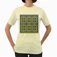 Tiles Panel Decorative Decoration Women s Yellow T Shirt