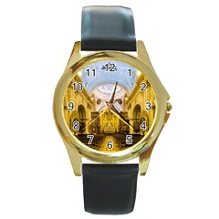 Church The Worship Quito Ecuador Round Gold Metal Watch