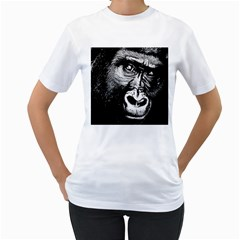 Gorilla Women s T-Shirt (White) (Two Sided)