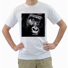 Gorilla Men s T-Shirt (White) (Two Sided)