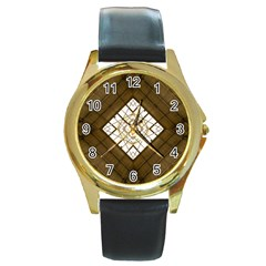 Steel Glass Roof Architecture Round Gold Metal Watch