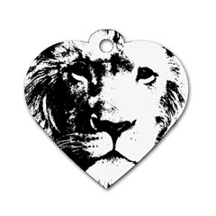 Lion  Dog Tag Heart (One Side)