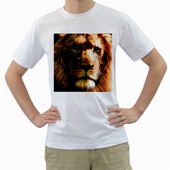 Lion  Men s T-Shirt (White) (Two Sided)