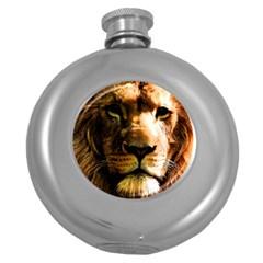 Lion  Round Hip Flask (5 oz)