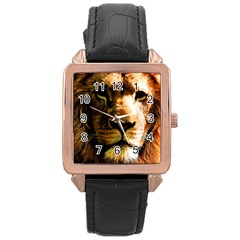 Lion  Rose Gold Leather Watch