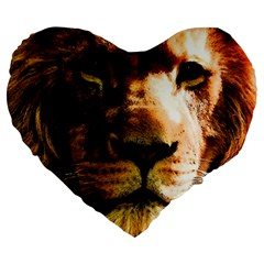 Lion  Large 19  Premium Flano Heart Shape Cushions