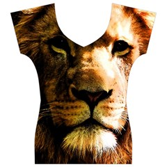 Lion  Women s V-Neck Cap Sleeve Top