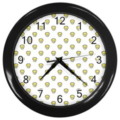 Angry Emoji Graphic Pattern Wall Clocks (Black)