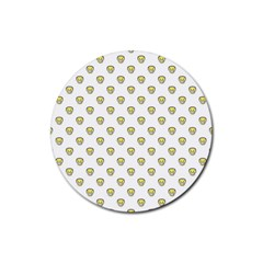 Angry Emoji Graphic Pattern Rubber Coaster (Round)