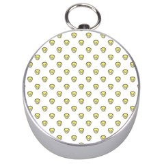 Angry Emoji Graphic Pattern Silver Compasses