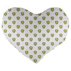 Angry Emoji Graphic Pattern Large 19  Premium Flano Heart Shape Cushions