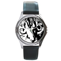 Cat Round Metal Watch