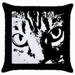 Cat Throw Pillow Case (Black)
