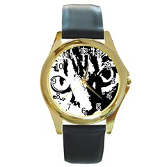Cat Round Gold Metal Watch