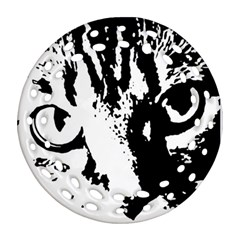 Cat Round Filigree Ornament (Two Sides)