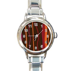 Colorful Striped Background Round Italian Charm Watch