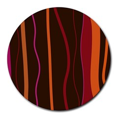 Colorful Striped Background Round Mousepads