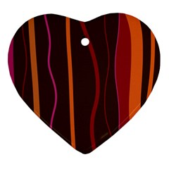 Colorful Striped Background Ornament (Heart)