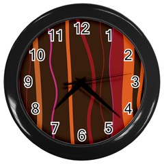 Colorful Striped Background Wall Clocks (Black)