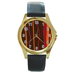 Colorful Striped Background Round Gold Metal Watch