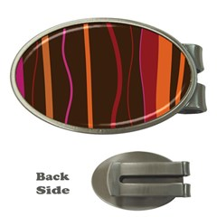 Colorful Striped Background Money Clips (Oval)