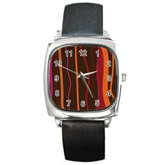 Colorful Striped Background Square Metal Watch