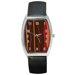 Colorful Striped Background Barrel Style Metal Watch