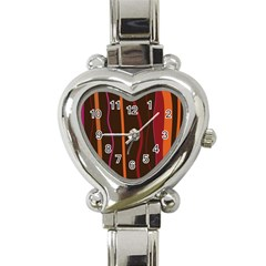Colorful Striped Background Heart Italian Charm Watch