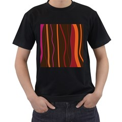 Colorful Striped Background Men s T-Shirt (Black) (Two Sided)