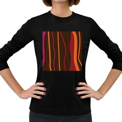 Colorful Striped Background Women s Long Sleeve Dark T-Shirts