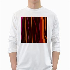 Colorful Striped Background White Long Sleeve T-Shirts
