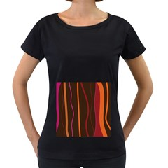 Colorful Striped Background Women s Loose-Fit T-Shirt (Black)