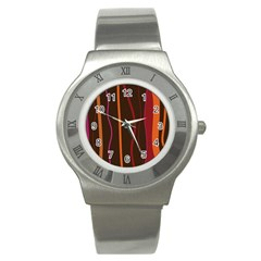 Colorful Striped Background Stainless Steel Watch