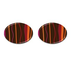 Colorful Striped Background Cufflinks (Oval)