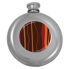 Colorful Striped Background Round Hip Flask (5 oz)