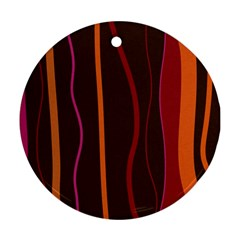Colorful Striped Background Round Ornament (Two Sides)
