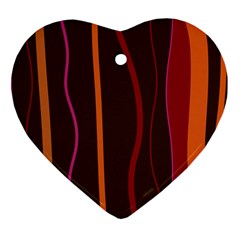 Colorful Striped Background Heart Ornament (Two Sides)