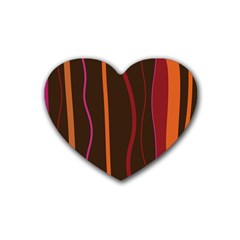 Colorful Striped Background Rubber Coaster (Heart)