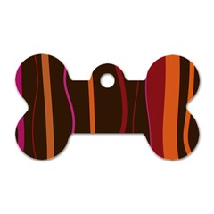 Colorful Striped Background Dog Tag Bone (One Side)