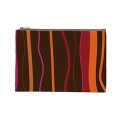 Colorful Striped Background Cosmetic Bag (Large)