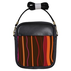 Colorful Striped Background Girls Sling Bags