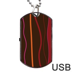 Colorful Striped Background Dog Tag USB Flash (One Side)