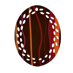 Colorful Striped Background Ornament (Oval Filigree)