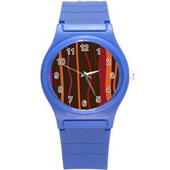 Colorful Striped Background Round Plastic Sport Watch (S)