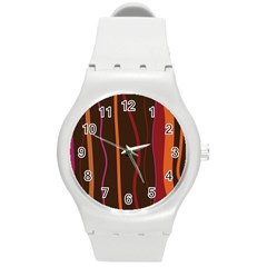 Colorful Striped Background Round Plastic Sport Watch (M)