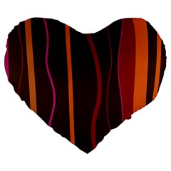 Colorful Striped Background Large 19  Premium Heart Shape Cushions
