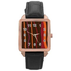 Colorful Striped Background Rose Gold Leather Watch