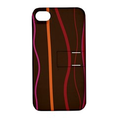 Colorful Striped Background Apple iPhone 4/4S Hardshell Case with Stand
