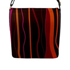 Colorful Striped Background Flap Messenger Bag (L)
